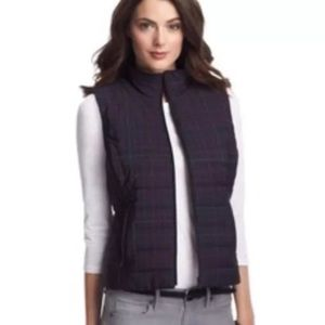 Ann Taylor LOFT Quilted Plaid Puffer Vest Small